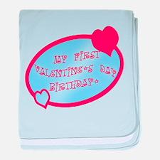 First Valentine Birthday BLUE baby blanket