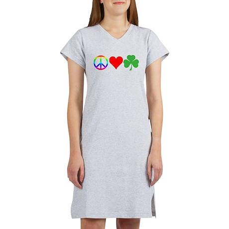 Peace Love Shamrock Irish Women's Nightshirt