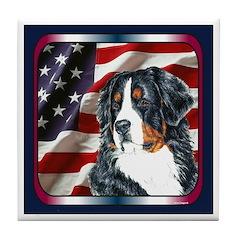 Bernese Mountain Dog Flag Tile Coaster