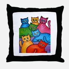 One Cat Two Cat Throw Pillow