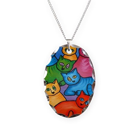 One Cat Two Cat Necklace Oval Charm