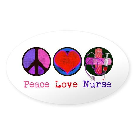 Peace Love Nurse Sticker (Oval)