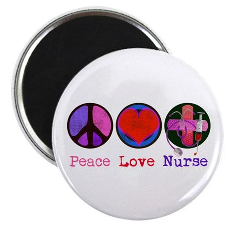 "Peace Love Nurse 2.25"" Magnet (10 pack)"