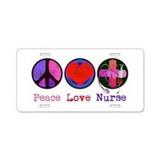 Peace Love Nurse Aluminum License Plate