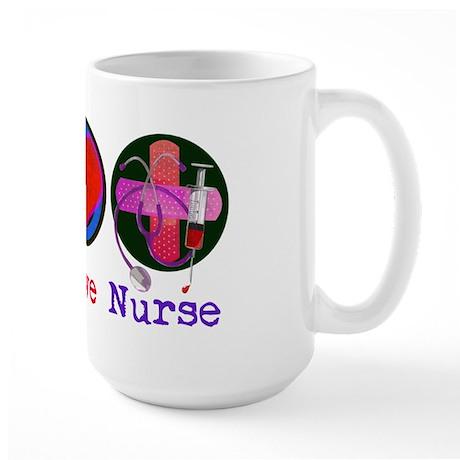Peace Love Nurse Large Mug