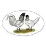 Owl Beard Chickens Sticker (Oval 10 pk)