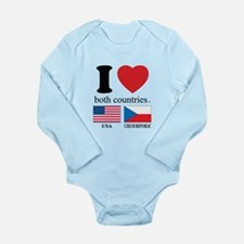 USA-CZECH REBUPLIC Long Sleeve Infant Bodysuit