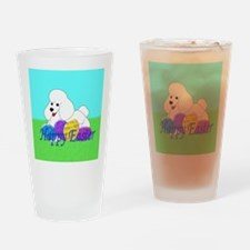 White Poodle Drinking Glass