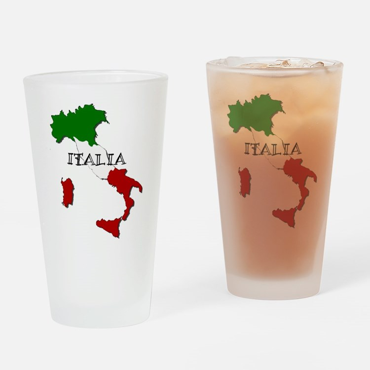 Italy Flag Map Drinking Glass
