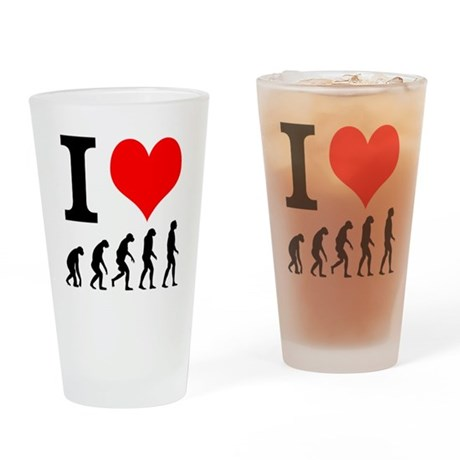 I heart Evolutuion Drinking Glass