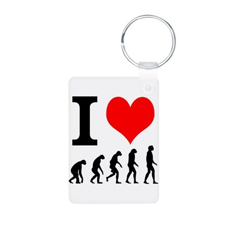 I heart Evolutuion Aluminum Photo Keychain