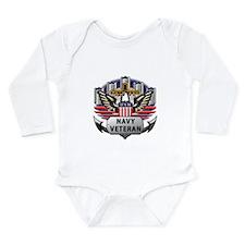 Official US Navy Veteran Long Sleeve Infant Bodysu