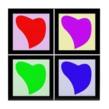 Pop Art Hearts Tile Coaster