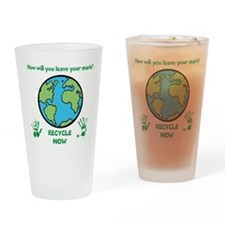 Cute Recycle earth Drinking Glass