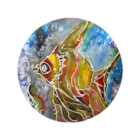"Tropical fish! Colorful art! 3.5"" Button (100 pack"