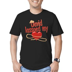 David Lassoed My Heart Men's Fitted T-Shirt (dark)