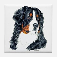 Bernese Mountain Dog Head Tile Coaster