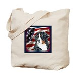Bernese Mountain Dog Flag USA Tote Bag