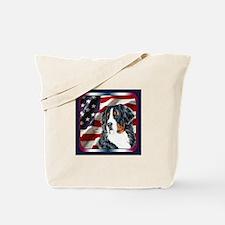 Bernese Mountain Dog Flag USA Tote Bag