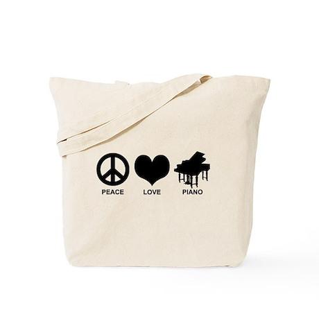 Peace Love Piano Tote Bag