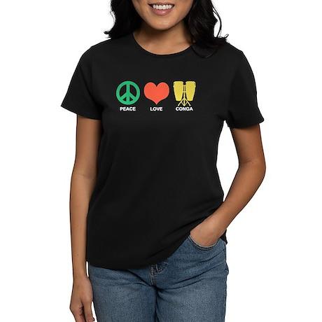 Peace Love Conga Women's Dark T-Shirt