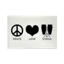 Peace Love Conga Rectangle Magnet