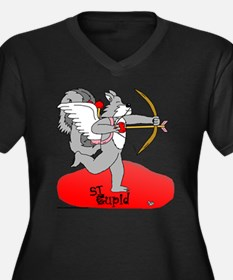 Stupid Cupid Women's Plus Size V-Neck Dark T-Shirt