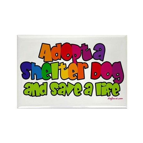 Adopt Shelter Dog (Rainbow) Rectangle Magnet (10 p