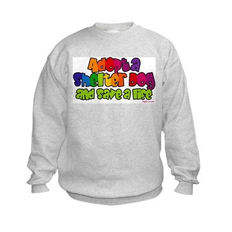 Adopt Shelter Dog (Rainbow) Kids Sweatshirt
