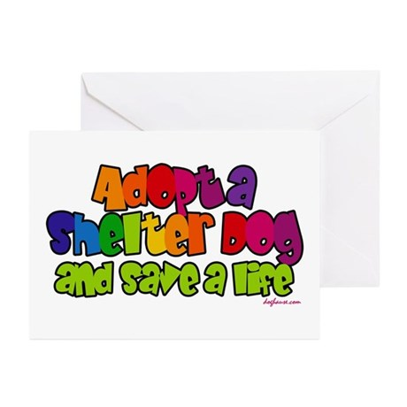 Adopt Shelter Dog (Rainbow) Greeting Cards (Packag