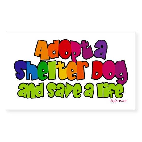 Adopt Shelter Dog (Rainbow) Rectangle Sticker