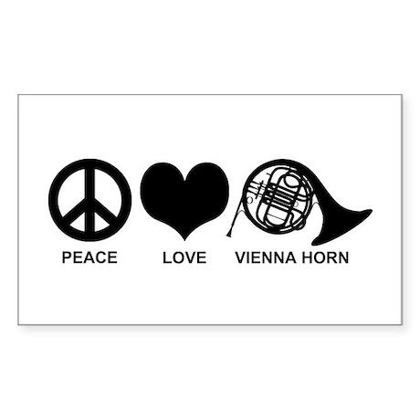 Peace Love Vienna Horn Sticker (Rectangle)