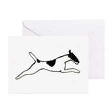 Leaping Smooth Fox Terrier Greeting Cards (Pk of 1