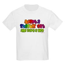 Adopt Shelter Cat (Rainbow) Kids T-Shirt