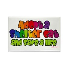 Adopt Shelter Cat (Rainbow) Rectangle Magnet