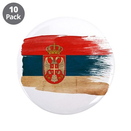 "Serbia Flag 3.5"" Button (10 pack)"