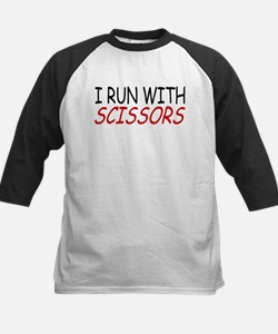 """I Run With Scissors"" Kids Baseball Jersey"