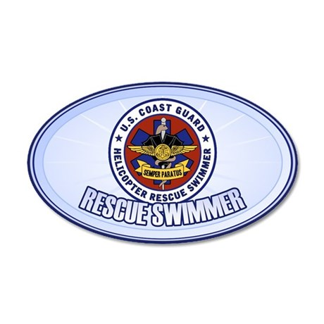 Rescue Swimmer 22x14 Oval Wall Peel