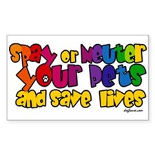 Spay Neuter Rainbow Rectangle Decal