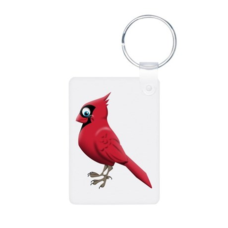Red Smiley Face Aluminum Photo Keychain