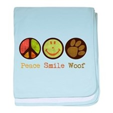Smile and WOOF baby blanket
