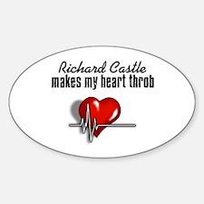 Richard Castle makes my heart throb Sticker (Oval)