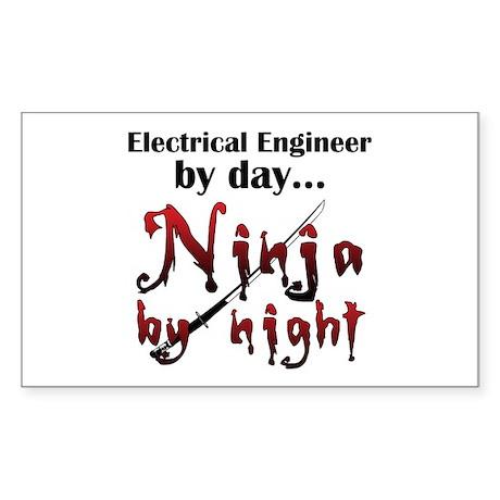Electrical Engineer Ninja Sticker (Rectangle)