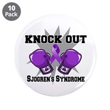"""Knock Out Sjogren's Syndrome 3.5"""" Button (10 pack)"""