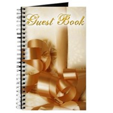 Elegant Gold Ribbon Wedding Guest Book