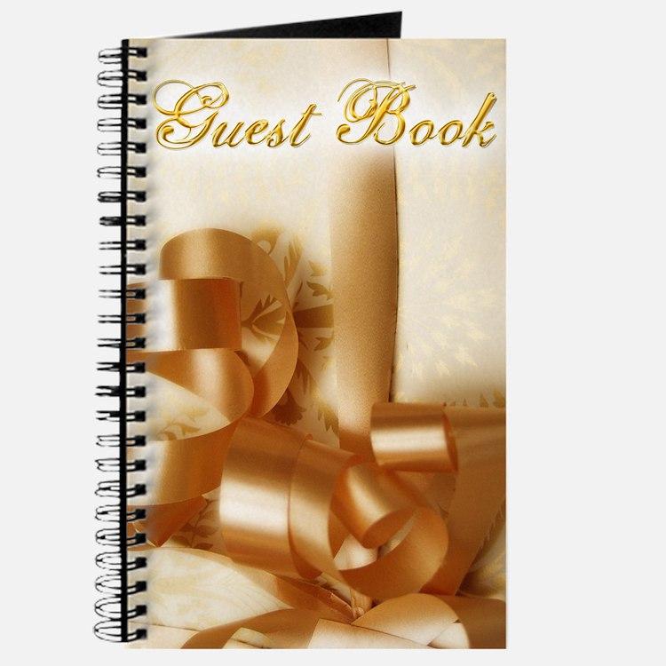 Elegant Gold Ribbon Wedding Guest Book