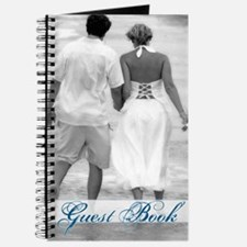 Beach Couple Black and White Wedding Guest Book