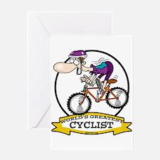 WORLDS GREATEST CYCLIST MEN CARTOON Greeting Card