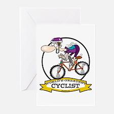 WORLDS GREATEST CYCLIST MEN CARTOON Greeting Cards