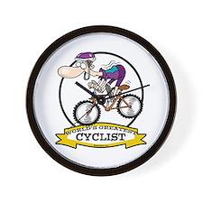 WORLDS GREATEST CYCLIST MEN CARTOON Wall Clock
